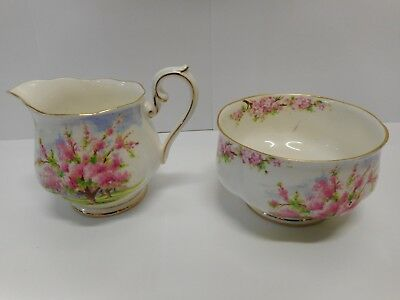 Royal Albert Blossom Time Milk Jug & Sugar Bowl ..  England