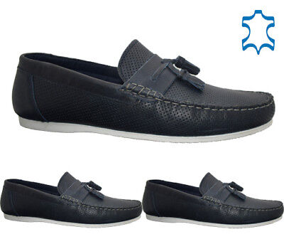 Mens Leather Slip On Designer Loafers Casual Boat Deck Mocassin Driving Shoes Sz