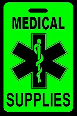 Day-Glo Green MEDICAL SUPPLIES Luggage/Gear Bag Tag - FREE Personalization - New