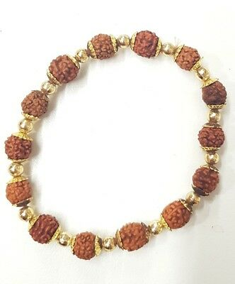 """Panchmukhi Rudraksha Bracelet With Gold Plated Beads Stretchable (Approx 2.6"""")"""