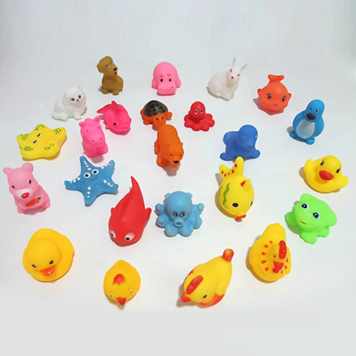 13Pcs Animals Float Squeeze Sound Baby Wash Squeaky Bath Swimming Toys