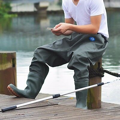 Unisex Fishing Wader Pants Antiskid antiwear Breathable W/ Waterproof Boots