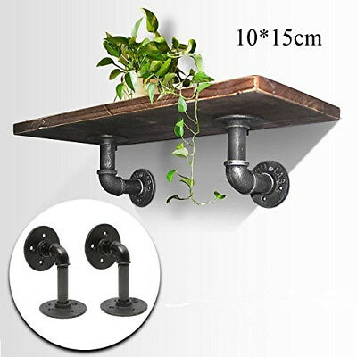 2pcs Mini Industrial Iron Pipes Shelf Vintage Rack Antique Wall Bracket Home DIY