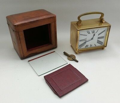 Vtg 1920s French Art Deco Oblong Horizontal Brass Carriage Clock & Travel Case