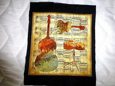 MUSICAL INSTRUMENT Fabric Cotton Craft Panel Quilting DOUBLE BASS GUITAR DRUMS