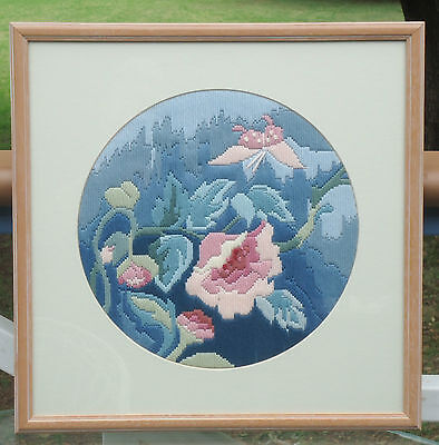 Lovely Vintage Crewel Embroidery Picture *Pink & Blue Flowers *Framed