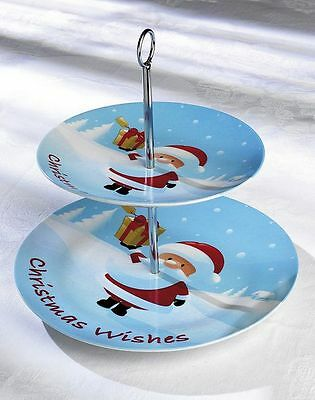 Christmas Ceramic 2 Tier Cake Stand Father christmas or Reindeer Design NEW