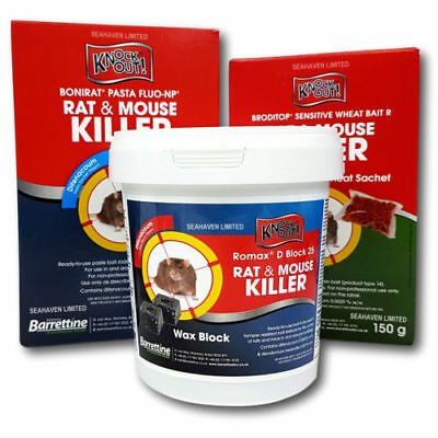 Knockout Rat & Mouse Killer Poison Control Treatment - Pasta Block or Wheat Bait