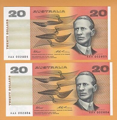 R413i $20 Fraser/Cole Re-used  AAA prefix Consecutive Pair Unc