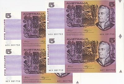$5 Fraser/Higgins Two Consecutive Prefix Uncut Pairs  Low Numbers Unc