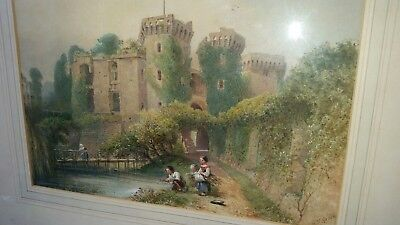 BENJAMIN RICHARD GREEN Early 19thC Painting of Figures Fishing in Castle Moat