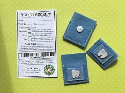 Tooth Fairy Pouch & Tooth Receipt - Handmade - Fairy Door Accessories  - Blue