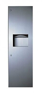 Bobrick Recessed Paper Towel and Waste Receptacle Combo Unit Silver 45L Capacity