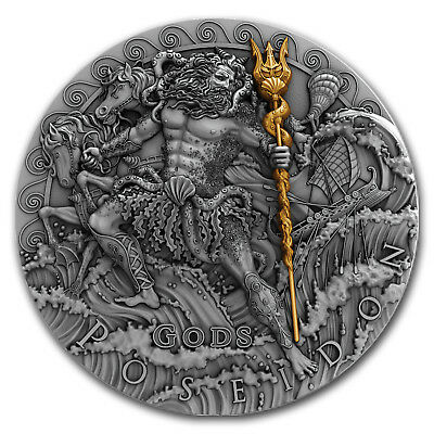 2018 Niue 2 oz Antique Silver God of the Sea Poseidon High Relief - SKU#166413