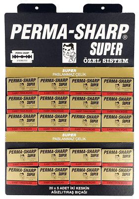 PERMA SHARP SUPER DOUBLE EDGE -DE- RAZOR BLADES 100 Pieces FREE POSTAGE