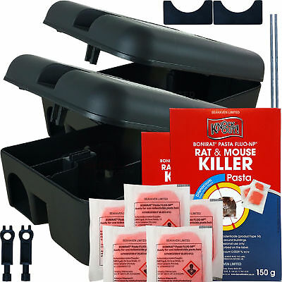 Knockout 300g Rat & Mouse Poison Pasta Killer & 2 Tamper Proof Bait Station Kit