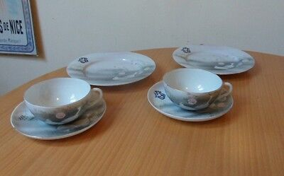 """ANTIQUE 6 PIECE JAPANESE HAND PAINTED INITIALLED PORCELAIN TEA SET - LATE 1800""""s"""
