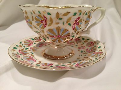 "Russian Imperial Lomonosov Porcelain, Bone China Tea Cup&Saucer ""Pink Flowers"""