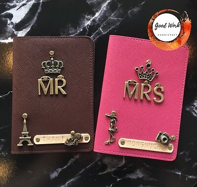 Personalised Leather Passport Cover Holder With Free Tag Name And Charm