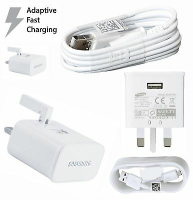 GENUINE FAST CHARGER PLUG & USB Fast CABLE FOR SAMSUNG  S6 S7 S5 S Edge Note 4 5