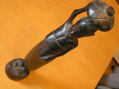 Vintage African Ebony Wood Hand Carved Sculpture Woman Carrying Basket 13 inches