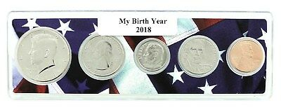 2018 Birth Year Coin Set in American Flag Holder - 5 Coin Set