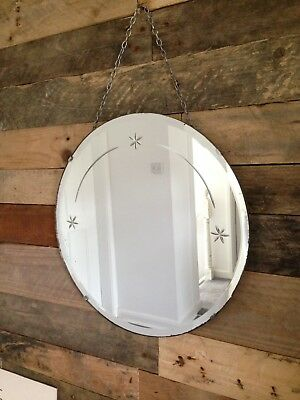 Fabulous 1930's Art Deco Round Bevelled Edge Mirror With Etched Star Design