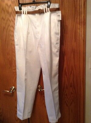 Vintage New with Tags JC Penney Hunt Club White High Waist Belted Pants Sz. 18
