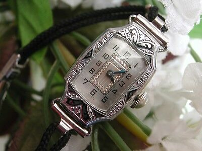 1928 Ladies Art Deco Enamel Bulova Watch~ SERVICED