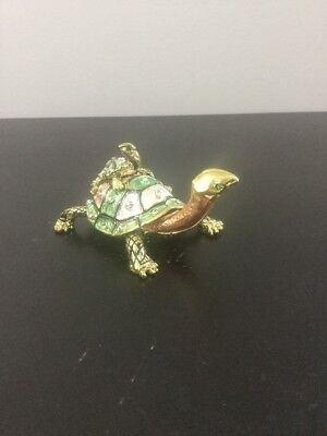 "Beautiful Colored Metal Turtle W/ Baby Trinket Box Jeweled 1.75"" Tall 3.5"" Long"