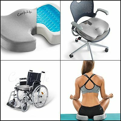 Ortho Seat Memory Foam Cushion Gel Chair Pillow Orthopedic For Back Pain RELIEF