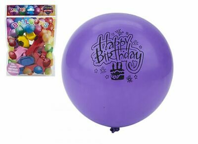 20 x Happy Birthday Printed Balloons Party Celebration Decorations Mixed Colours