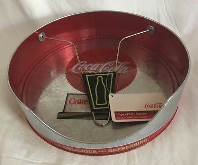 COCA-COLA METAL PAPER Plate Holder for up to 9.5 inch paper plates ...