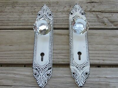 Rustic Antique White Victorian Door Pack Plate With Crystal Glass Knobs Set Of 2