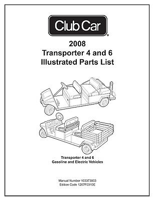 Club Car Illustrated Parts List 2008 Gas Electric Transporter