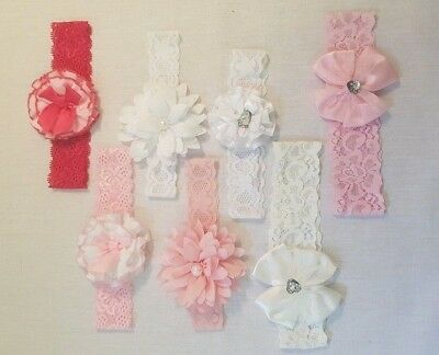 Baby Girl Soft Touch Lace Headband with Flower/ Bow Detail 0-6 month PINK WHITE