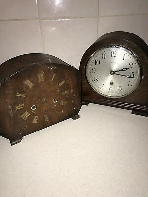1930s Art Deco Perivale & Smiths 2 X Clock Movement's Parts or Repair With Key
