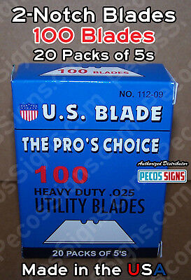 """100 Utility Blades 20 Packs of 5s - Hvy Duty .025"""" Made in the USA CLEANCE SALE!"""