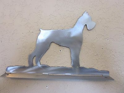 Giant Schnauzer Mailbox Topper (No Name) Steel Raw Metal Finish New Style Base