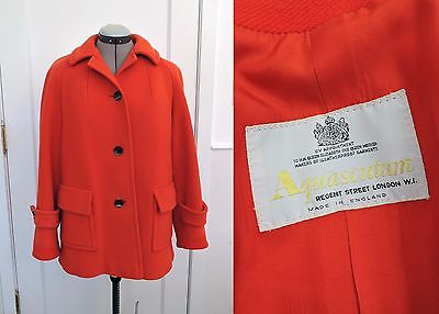 Aquascutum Vtg 60s 70s 80s Wool Coat Single-Breasted Red Orange 1960 1970 S M