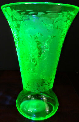 Vaseline Glass Heavily Etched 2 Sides Tall, Wide & Deep Uranium Beautiful Vase