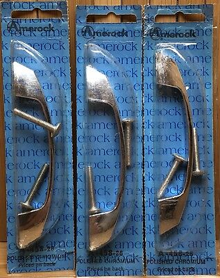 Mid Century NOS Amerock A-458-26 Polished Chromium Drawer Pull Cabinet Handles