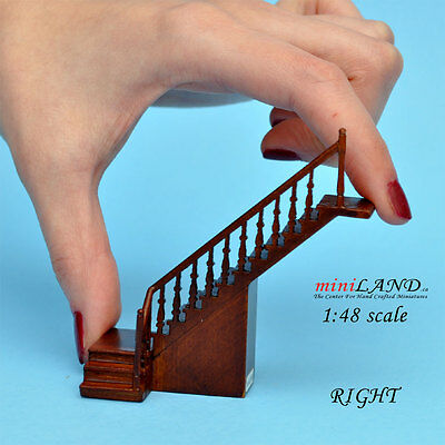 "1:48 1/4"" quarter scale right staircase Top quality walnut dollhouse miniature"