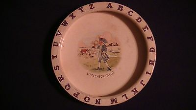 Little Boy Blue Antique Alphabet Children Childs Bowl Pottery Collectible Rare!