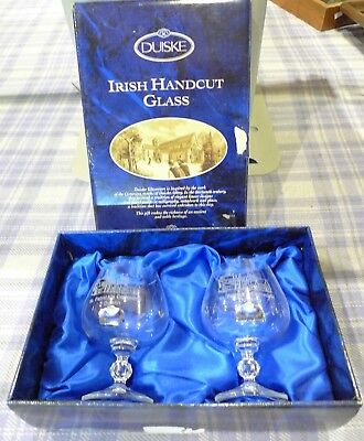Duiske Irish Handcut Brandy Glasses St. Patricks Cathedral Dublin  Ireland