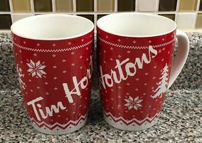 Tim Hortons Coffee Mugs Tim's 2015 Red Set of 2 Cups Holiday Winter Warm Wish