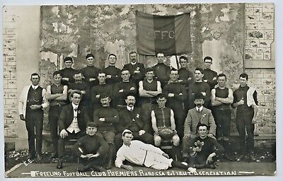 1910 Rp Postcard Freeling Football Club Premiers Barossa Light Assoc S. Aust. H5