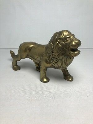 Vintage Brass Lion Figurine Decorative Collectible Statue Antique Tarnish