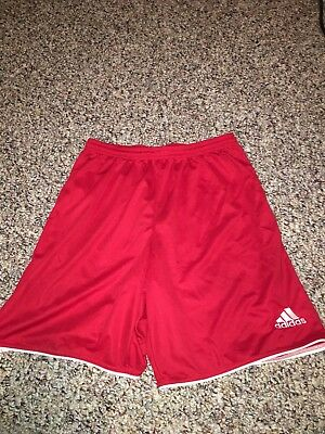 Adidas Youth Large Shorts Red Climalite Lightweight Athletic (K)