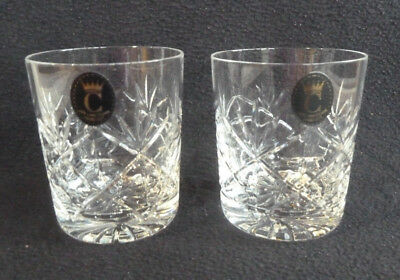 TWO 24% Hand Cut Lead Crystal 250 ml Whisky Tumblers Glasses Crown C Label